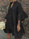 Solid Color Hollow Patchwork 3/4 Sleeve Casual Dress For Wmen - Black
