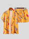 Mens Leaf Print Open Front Kimono Holiday Two Pieces Outfits - Yellow