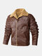 Mens Faux Shearling Lapel Button Up Warm PU Jackets With Pockets - Coffee