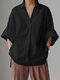 Solid Color Loose Long Sleeve Casual Blouse for Women - Black