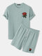 Mens Basic Knitted Rose Embroidery Patch Short Sleeve Casual Two Piece Outfits Cozy Loungewear - Light Blue