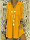 Solid Color 3/4 Sleeve Lapel Casual Dress For Women - Yellow