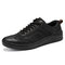 Mens Leather Sneakers Lace Up Casual Boards Shoes - Black