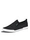 Men Breathable Slip-on Comfy Hard Wearing Round Toe Canvas Shoes - Black White