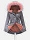 Fur Collar Drawstring Button Plus Size Winter Coat with Pockets - Grey