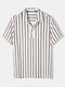Mens 100% Cotton Striped Split Side Casual Short Sleeve Golf Shirts - Brown