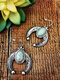 Bohemia Turquoise Women Earrings Carved Crescent-Shaped Pendant Earrings - Antique Silver
