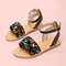 Girls Daily Fashion Coloful Sequined Buckle Strap Beach Sandals - Black