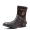 Men Double Metal Buckle Side Zipper Leather Cow Boy Boots - Coffee