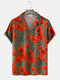 Mens Red Flower Printed Camp Collar Holiday Short Sleeve Shirts - Army Green