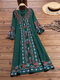 エスニックプリントハーフスリーブAラインエレガントPlusサイズのドレス - 緑