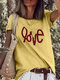 Casual Letter Print O-neck Plus Size T-shirt - Yellow