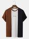 メンズブロックストライプパッチワーク刺繍ニット半袖プレッピーTシャツ - 褐色