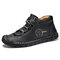 Menico Men Soft Sole Hand Stitching Non Slip Leather Ankle Boots - Black