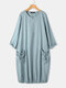 Solid Color Drawstring Pocket Button Long Sleeve Casual Dress - Blue