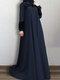 الصلبة اللون الدانتيل المرقعة فستان مسلم سوينغ كبيرة للنساء - القوات البحرية