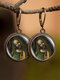 Vintage Round Glass Printed Ear Hooks Alloy Oil Painting Pendant Earrings - #02