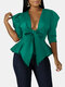 Solid Color Puff Sleeve Knotted V-neck Plus Size Bowknot Jackets - Green