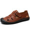 Men Cow Leather Hand Stitching Non Slip Soft Sole Casual Sandals - Brown