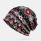 Retro Irregular Pattern Vintage Elastic Ethnic Cotton Beanie Breathable Turban Cap - Black