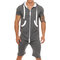Mens Casual Jumpsuit Camo Zipper Up Hooded Front Pockets Breathable Jogger Lounge Set - Gray