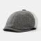 Men & Women Stitching British Retro Artist Temperament Short Brim Peak Top Hat Beret Flat Caps - Light Grey