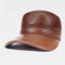 Men's Leather Top Layer Cowhide Dome Big Eaves Warm Autumn Winter Thickening And Cotton Earmuffs Baseball Hat - Brown