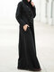 Hollow Bandage Long Sleeve Hooded Casual Maxi Dress For Women - Black