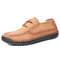 Menico Men Hand Stitching Cow Leather Non Slip Soft Casual Shoes - Brown