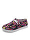 Plus Size Women Casual Floral Pattern Drawstring Breathable Comfy Flats - Pink