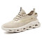 Men Comfy Breathable Knitted Fabric Cushioning Casual Running Sneakers - Beige