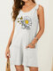 Butterfly Daisy Leopard Print Knotted Strap Casual Romper with Pocket - White