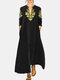 V Neck Casual Ethnic Printed Long Loose Pullover Maxi Dress - Black
