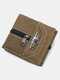 Men Multifunction PU Leather Vintage Coin Purse Money Clips Card-slots Wallet - Yellow