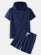 Mens Solid Color Cotton Linen Plain Basics Hooded Two Pieces Outfits - Navy