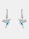 Alloy Cute Micro-set Bird-shape Earrings For Women - Blue