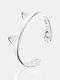Cartoon Cat Paw Footprint Women Ring Cute Adjustable Open Cat Ears Ring Jewelry Gift - Silver