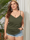 Solid Color Straps V-neck Plus Size Tank Top - Army Green