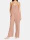Adjustable Strap Plain Sleeveless Pocket Casual Plus Size Jumpsuit - Pink