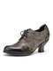 SOCOFY Retro Splicing Embossed Rivet Leather Comfy Werable Lace Up Casual Heels Pumps - Black