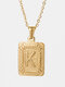 Vintage Gold Square Stainless Steel Letter Pattern Pendant - K