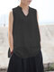 Casual Solid Color Sleeveless Plus Size Tank Top - Black