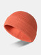 Unisex Core-spun Yarn Knitted Solid Color Fashion Warmth Beanie Hat - Orange