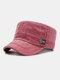 Men Cotton Letter Labeling Outdoor Sunshade Casual Military Cap Flat Cap - Rose