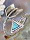 Vintage Triangle Turquoise Women Ring Adjustable Open Feather Bow-Arrow Ring Jewelry Gift - Silver