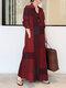 Abito lungo vintage lungo tascabile a maniche lunghe con colletto alla coreana scozzese - Vino rosso