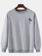 Mens Rose Chest Printed Round Neck Pullover Casual Drop Sleeve Sweatshirts - Gray