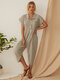 Solid Color Button Down Turn-down-collar Jumpsuit For Women - Beige