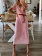 Printed Short Sleeves V-neck Casual Dress For Women - Pink