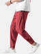Mens Cotton Linen Vertical Stripe Casual Drawstring Elastic Cuff Pants With Buckles - Red